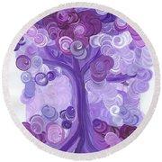 Liz Dixon's Tree Purple Round Beach Towel