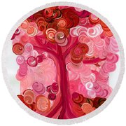 Liz Dixon's Tree Red Round Beach Towel