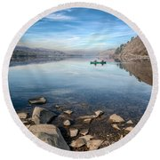 Llanberis Lake Round Beach Towel by Adrian Evans