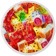 Loaded Dice Round Beach Towel