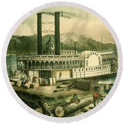 Loading Cotton On The Mississippi, 1870 Colour Litho Round Beach Towel