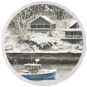 Lobster Boat After Snowstorm In Tenants Harbor Maine Round Beach Towel by Keith Webber Jr