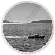 Lobster Boat And Islands Off Acadia National Park In Maine Round Beach Towel