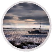 Lobster Boat Round Beach Towel