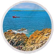 Lobster Boat Checking Traps In Louisbourg Bay-ns Round Beach Towel