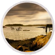 Lobster Boats Cape Porpoise Maine Round Beach Towel