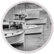 Lobster Boats In Bass Harbor And Bernard Maine  Round Beach Towel