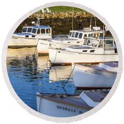 Lobster Boats - Perkins Cove -maine Round Beach Towel