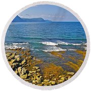 Lobster Cove In Rocky Harbour-nl Round Beach Towel