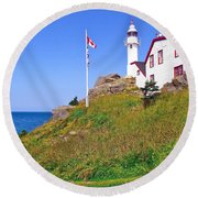 Lobster Cove Lighthouse With Blue Sky In Gros Morne Np-nl Round Beach Towel