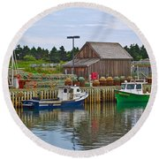 Lobster Fishing Baskets And Boats In Forillon Np-qc Round Beach Towel