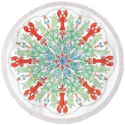 Lobster Mandala Round Beach Towel