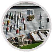 Lobster Pots And Buoys Round Beach Towel