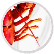 Lobster - The Right Side Round Beach Towel by Sharon Cummings