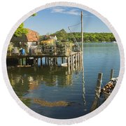 Lobster Traps On Pier In Round Pound On The Coast Of Maine Round Beach Towel