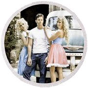 Local Country Store Pinup Round Beach Towel