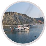 Local Fishing Boats Round Beach Towel