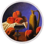 Local Peaches Oil Painting Round Beach Towel