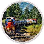 Local Train Round Beach Towel