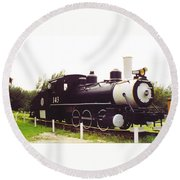 Locamotive Engine Landscape Round Beach Towel