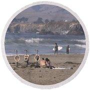 Location Location Location Round Beach Towel