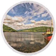 Loch Fyne Digital Painting Round Beach Towel