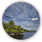 Loch Katrine Landscape Round Beach Towel