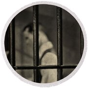Locked Up Black And White Round Beach Towel