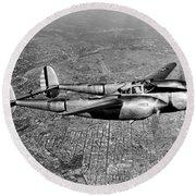 Lockheed P-38 Lightning Fighter Round Beach Towel