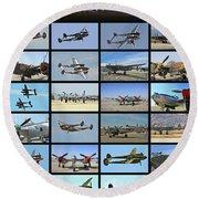 Lockheed P-38 Poster Round Beach Towel
