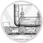 Locomotive, 1815 Round Beach Towel