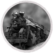 Locomotive 639 Type 2 8 2 Front And Side View Bw Round Beach Towel