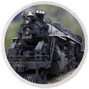 Locomotive 639 Type 2 8 2 Front And Side View Round Beach Towel