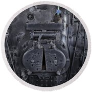 Locomotive 886 Steam Boiler Firebox Round Beach Towel