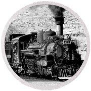 Locomotive Black And White Train Steam Engine Round Beach Towel