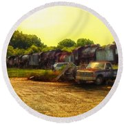 Locomotive Graveyard Round Beach Towel