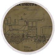 Locomotive Patent Postcard Round Beach Towel