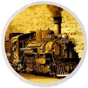 Sepia Locomotive Coal Burning Train Engine   Round Beach Towel