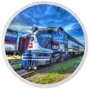 Locomotive Wabash E8 No 1009 Round Beach Towel