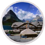 Lodge At Many Glacier, Glacier National Round Beach Towel