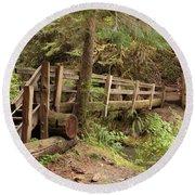 Log Bridge In The Rainforest Round Beach Towel
