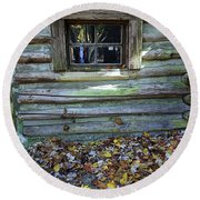 Log Cabin Window And Fall Leaves Round Beach Towel