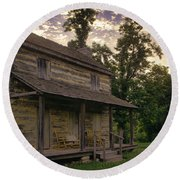 Log House Dusk Round Beach Towel