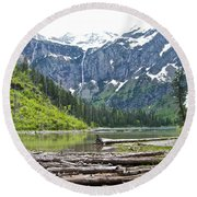 Log Jam In Avalanche Lake In Glacier Np-mt   Round Beach Towel