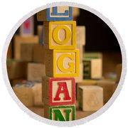 Logan - Alphabet Blocks Round Beach Towel