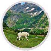 Logan Pass Mountain Goat Round Beach Towel