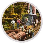 Logging With Steam Donkey Engine Near Olympia Washington Circa 1900 Round Beach Towel