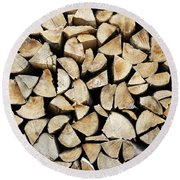 Logs Background Round Beach Towel