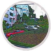 Lombard Street In San Francisco-california  Round Beach Towel