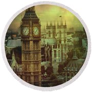 London - Big Ben Round Beach Towel